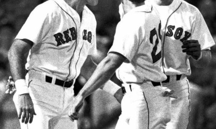 1989 Red Sox Dwight Evans, Danny Heep and Nick Esasky.