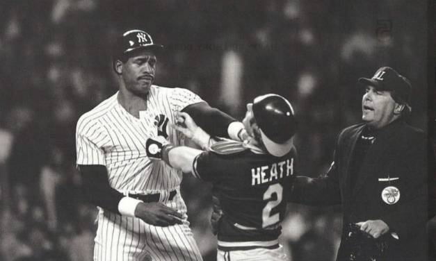 Dave Winfield grabs Oakland A's catcher Mike Heath by the throat at Yankee Stadium