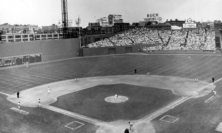 Fenway in the fifties.  Ted Williams at bat.