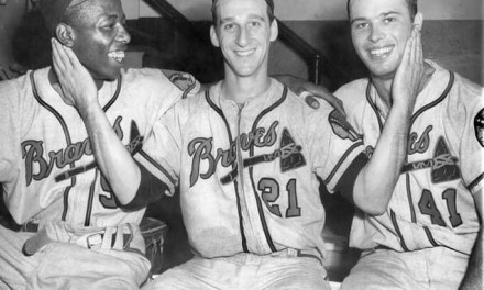 Hank Aaron , Warren Spahn  and Eddie Mathews