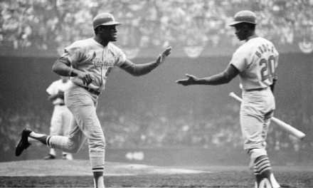 Lou Brock and Bob Gibson after a Gibson Homerun