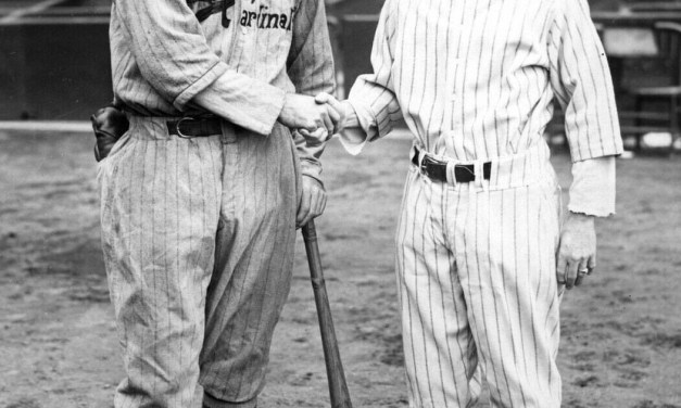Rogers Hornsby and Miller Huggins at the 1926 World Series.