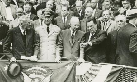 President Eisenhower is about to throw out the first pitch at Ebbets Field for game 1 of the 1956 World Series