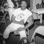 Reggie Smith relaxes in the locker room after the Red Sox 7-5 victory over the Brewers