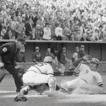 October 9, 1972 - Johnny Bench is out at home after tagging up at third on Cesar Geronimo's fly to left in the 4th inning of game 3 of the NLCS at Riverfront Stadium.