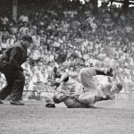 June 30, 1955 - Willie Mays collides with catcher Rube Walker in the 8th inning of the Giants vs Dodgers game at Ebbets Field.