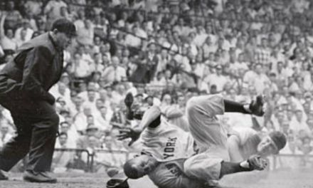 Willie Mays collides with catcher Rube Walker in the 8th inning of the Giants vs Dodgers game at Ebbets Field