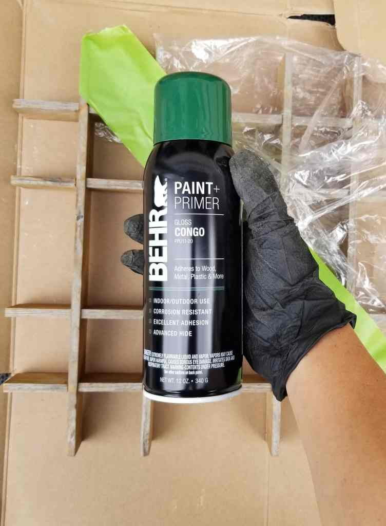 Can of Behr spray paint in Congo green color.