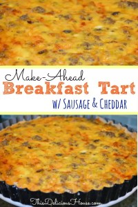 Breakfast Tart with sausage and cheddar in a tart pan