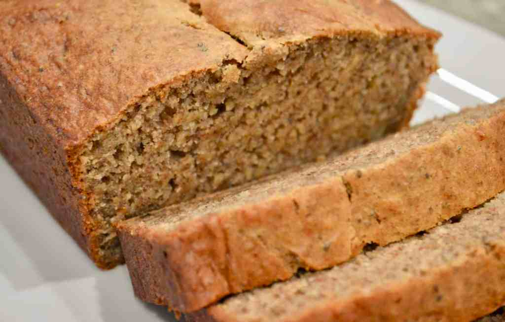 one bowl banana bread with chia, flax seeds, and ripe bananas
