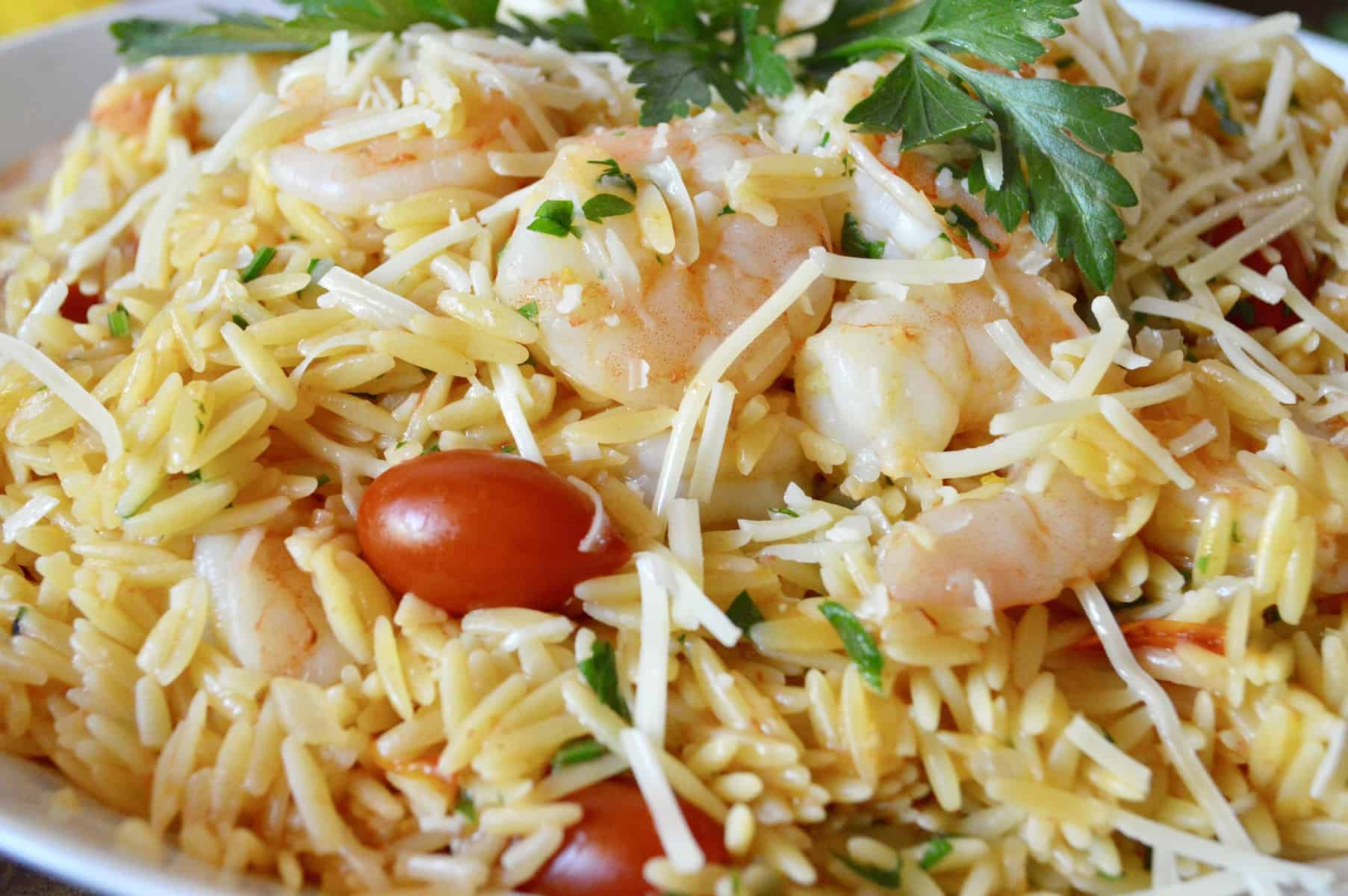 One Pot Shrimp Orzo with Lemon Parsley and Cherry Tomatoes