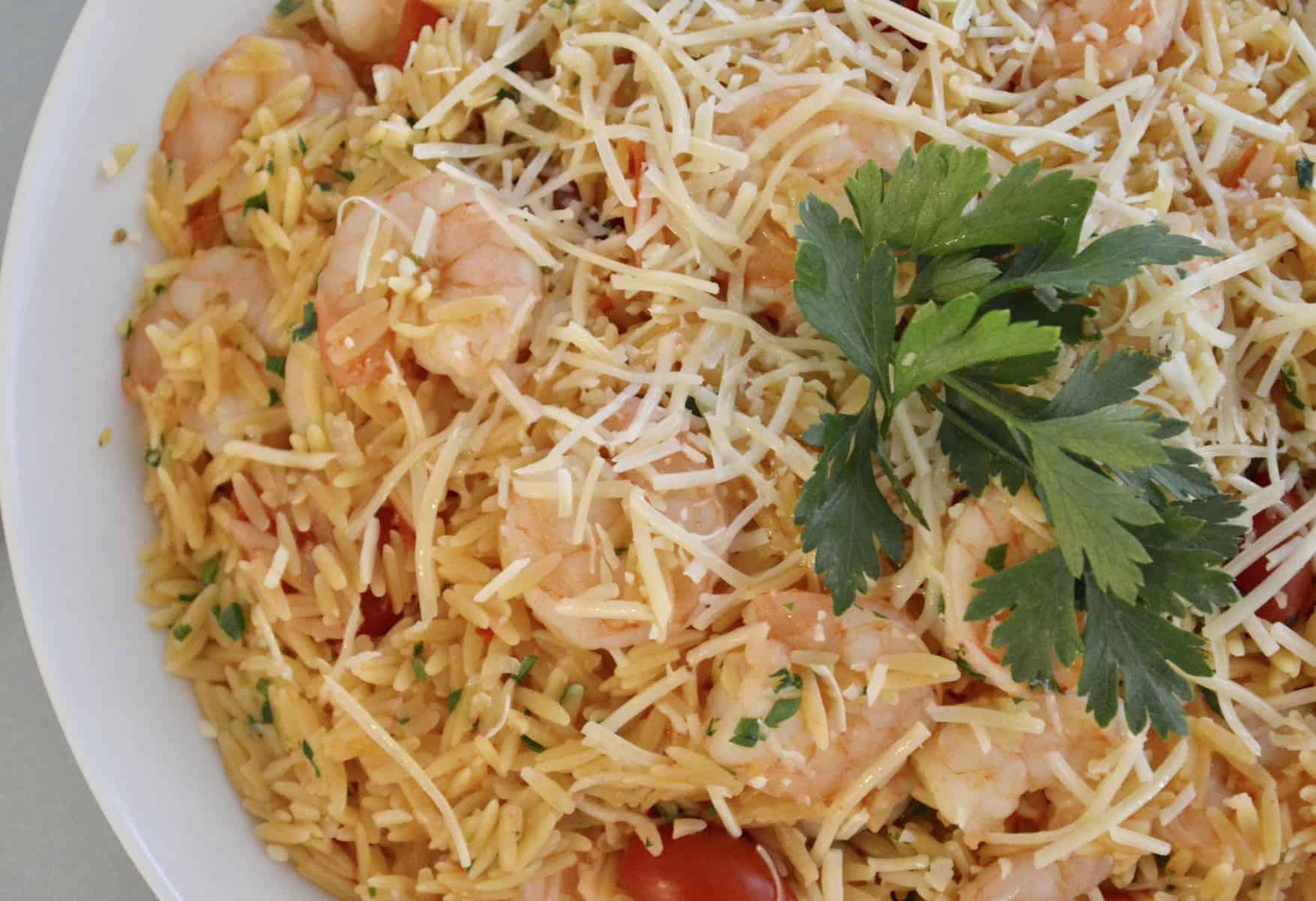 One Pot Shrimp Orzo pasta with lemon and parmesan