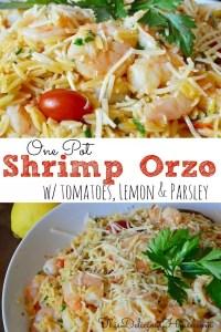 One-Pot Shrimp Orzo with lemon and parmesan