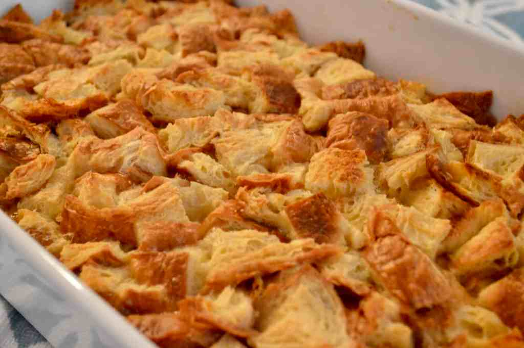 croissant baked French toast out of the oven