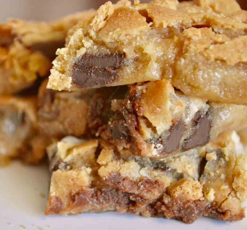S'mores cookie bars on a plate