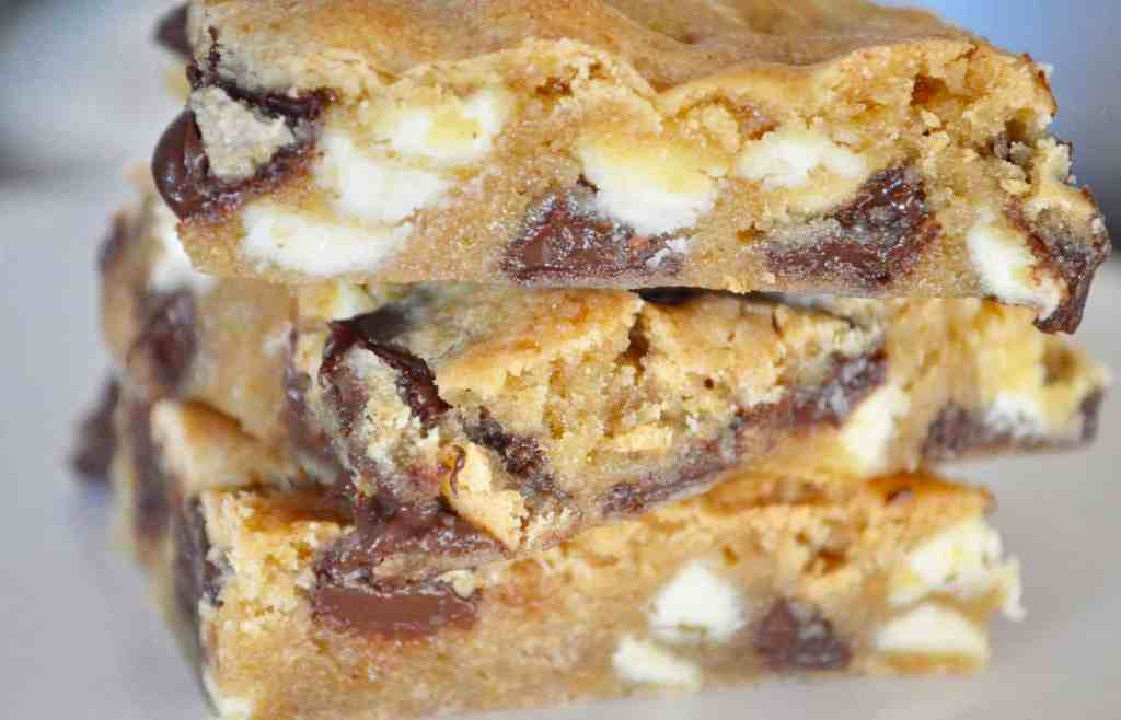 large batch cookie bars with chocolate and white chocolate chips