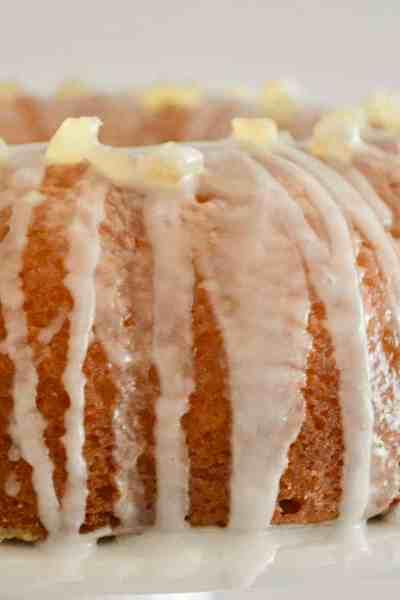 Lemon Ricotta Bundt Cake with paradise candied lemon peel on top