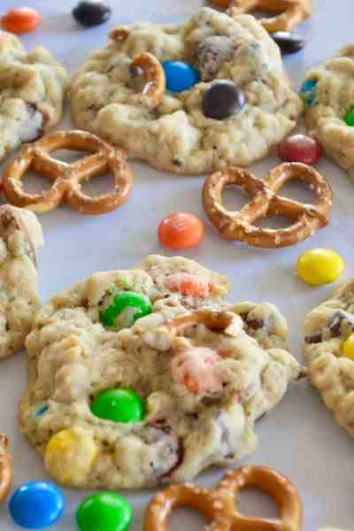 Pretzel M&M Oatmeal Cookies