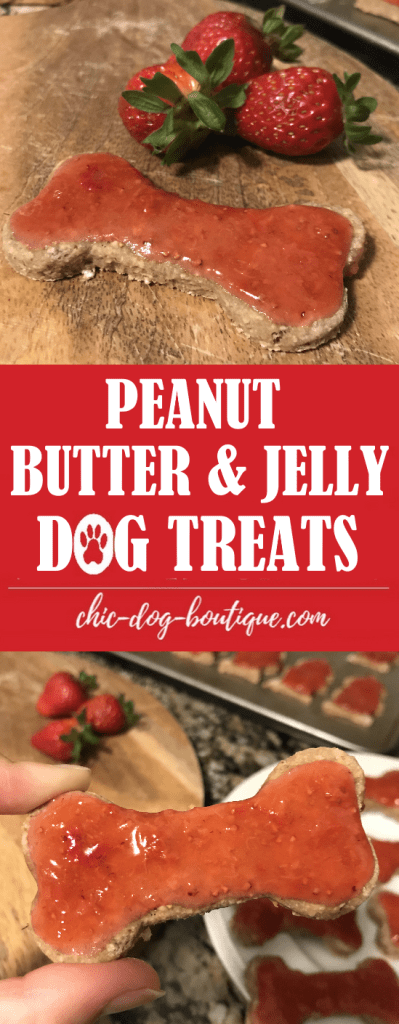 These homemade peanut butter dog treats come together quickly in a small food processor and bake for just 10 minutes! They're glazed with a simple strawberry and honey jelly for a treat that dog's simply cant resist.