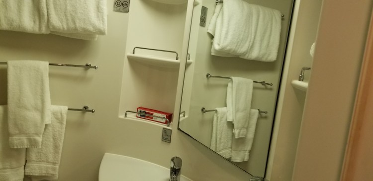 Stateroom bathroom on Norwegian Sun.