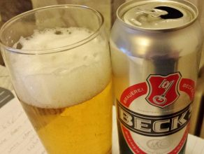 Beck's, the canned version straight from Germany