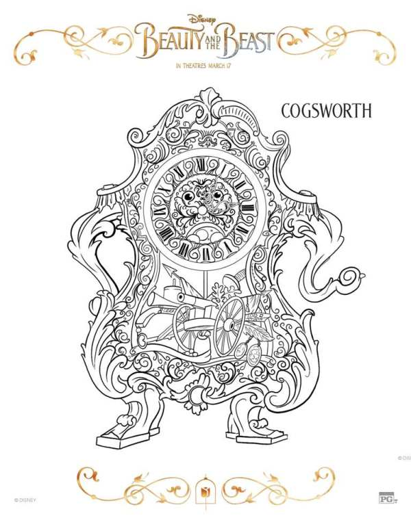 beauty and the beast coloring page # 18