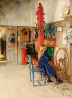 Carl Larsson at spinning wheel