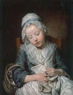 Young Knitter Asleep eighteenth-century French artist Jean-Baptiste Greuze