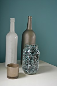 Use beans to fill a Mason Jar and group with other glass accents