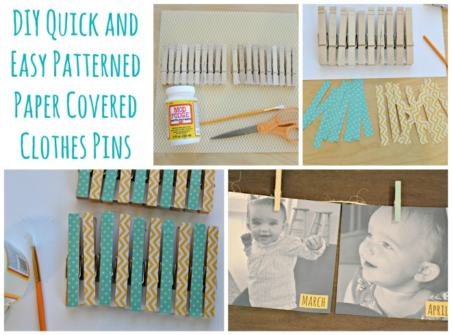 Sunshine Birthday DIY Quick and Easy Patterned Paper Covered Clothes Pins