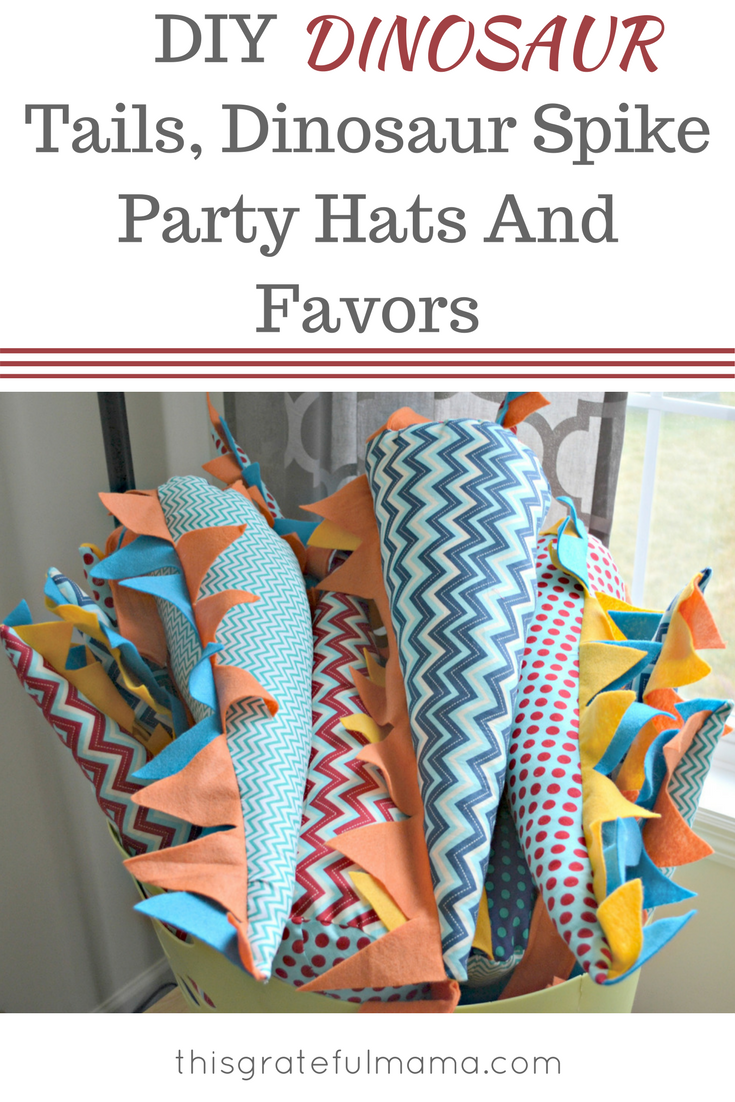 DIY Dinosaur Tails, Dinosaur Spike Party Hats And Favors | thisgratefulmama.com