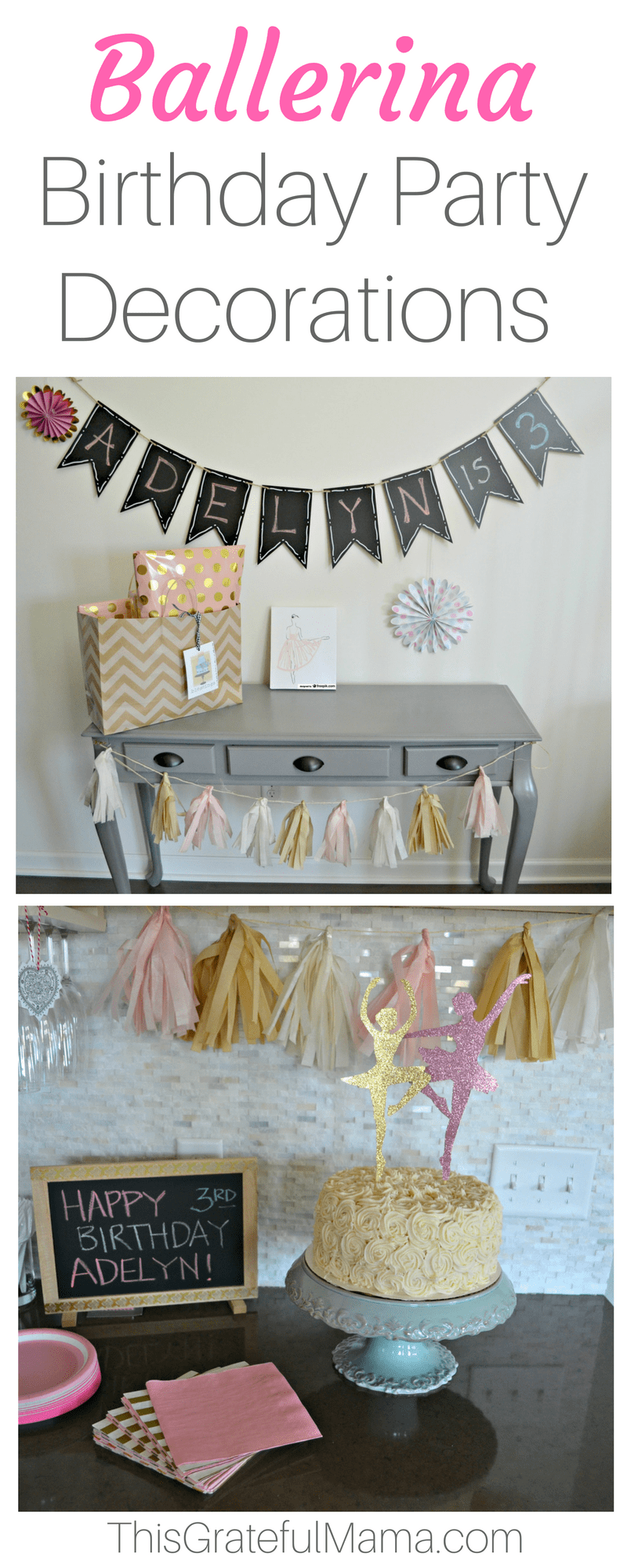A Ballerina Birthday Party - Birthday Party decorations for a Ballerina theme. Great for a 3 year old birthday celebration. Pink and gold tassle tissue paper garland, photo birthday banner, ballerina decorations and ballerina birthday cake. | thisgratefulmama.com #ballerina #birthday #girlbirthday #birthdayparty #party #partydecorations #birthdaydecorations #garland #ballerinacake #3yearoldbirthday #3rdbirthday #photobanner #bday