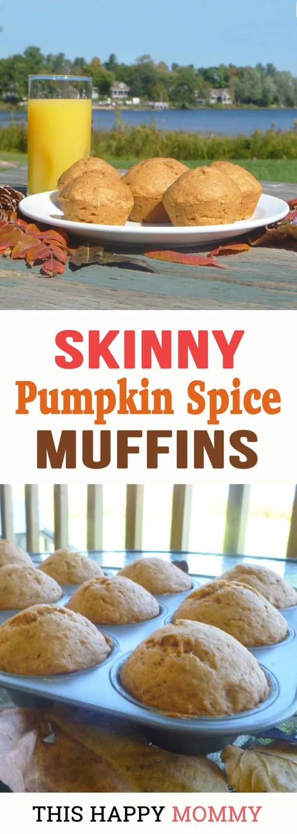 If you love fall flavoured foods, you'll love Skinny Pumpkin Spice Muffins. They're light, fluffy, and filled with a tasty pumpkin spice. You can enjoy them for breakfast time, snack time, or any time. | healthy breakfasts for families | clean eating breakfast on the go | healthy breakfast muffins | easy recipes for kids | #recipes #muffins #breakfast #fallfood | thishappymommy.com
