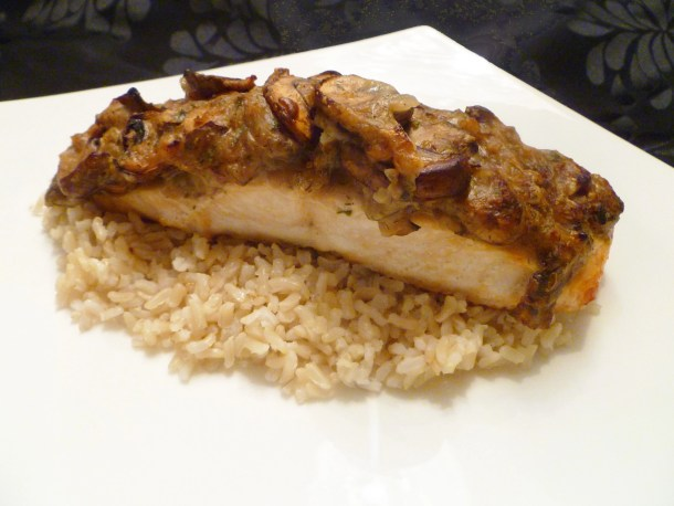 Mushroom Smothered Salmon is a healthy, perfectly tasty meal that's ready in less than 30 minutes. | thishappymommy.com