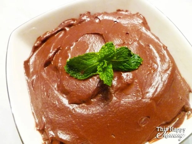 If you love rich, creamy chocolate, this is the treat for you. Chocolate Avocado Mousse takes less than five minutes to prepare. Quick, easy and chocolatey goodness - this is one crave-worthy dessert! | Simple and Light Dessert |  Clean Eating Desserts | Greek Yogurt Dessert Recipes | Healthy Chocolate Dessert Recipes | Easy to Make Sweet Treat Desserts | Quick and Easy No Bake Desserts | #dessert #cleaneating #chocolate #healthydessert | thishappymommy.com