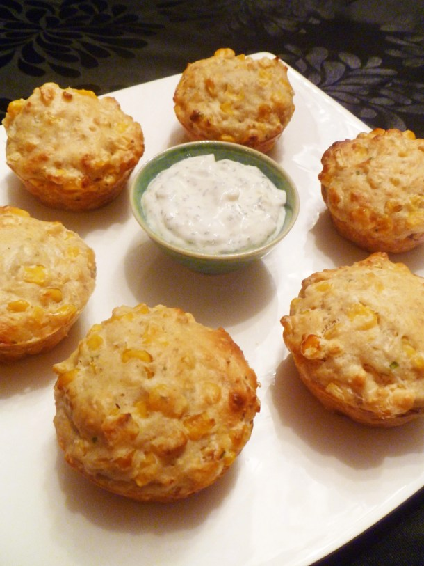 Corn Muffins with Creamy Lime Sauce -- Savoury muffins with a creamy, zesty sauce is a real crowd pleaser. | thishappymommy.com