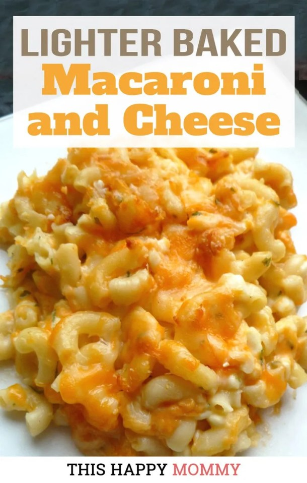 Creamy macaroni and cheese casserole, need I say more.Lighter Baked Macaroni and Cheese hits the sweet spot between comfort food and healthier cheesy pasta. | #pasta #recipe #meatlessmonday | thishappymommy.com
