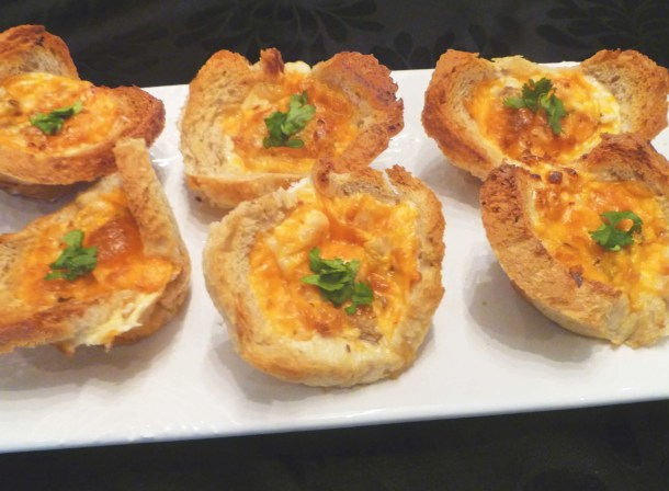 Mushroom Omelet Bread Cups -- Toasted bread cups filled with eggs, sautéed mushrooms, roasted red peppers and cheese. | thishappymommy.com