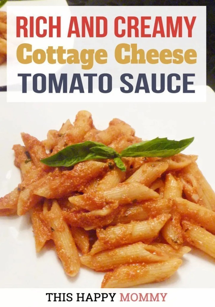 Looking for a healthy pasta sauce? Cottage Cheese Tomato Sauce is a rich and creamy tomato sauce with a hint of cheesy flavour. Plus, it's ready in only 20 minutes. Simple Pasta Recipe | Healthy Pasta | Easy Pasta Recipe Dinners | Easy Homemade Pasta Sauce | #healthypastarecipe #easypastarecipe #healthy20minutemeal #quickandeasydinner #tomatosaucepastarecipe | thishappymommy.com