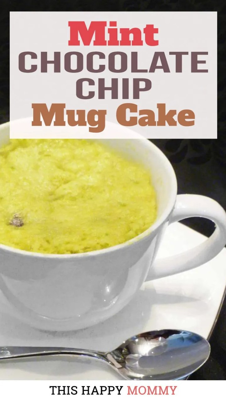 You have to try this cake! Minty, chocolatey, and green! Mint Chocolate Chip Mug Cake is a light and fluffy cake filled with mint-flavored batter and perfectly melted chocolate chips. | thishappymommy.com