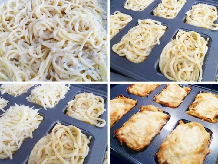 Skinny Alfredo Spaghetti Casserole -- Personal creamy alfredo spaghetti casseroles topped with a mozzarella cheese crust. | thishappymommy.com