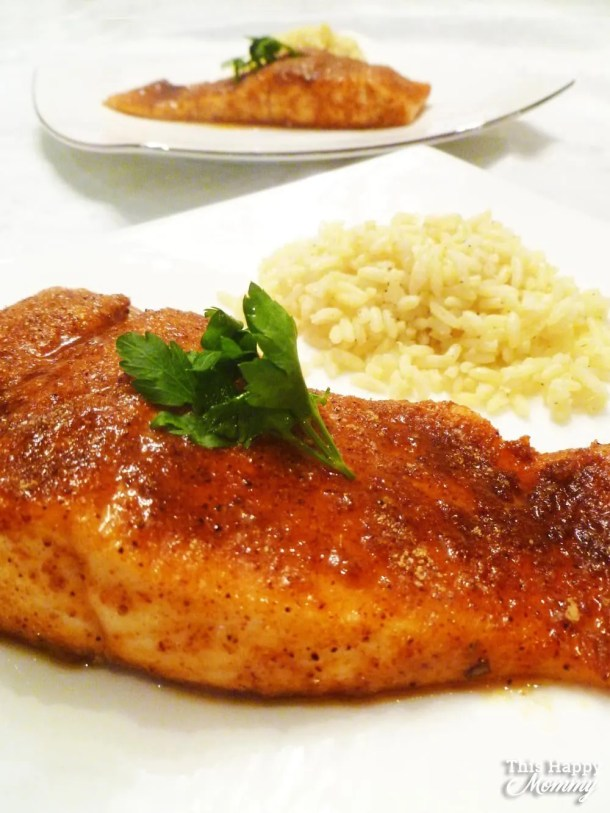 With Sweet BBQ Rubbed Salmon, you can enjoy all the flavours of the barbecue anytime of year. Rubbed with a tasty combination of sweet and savoury spices, this salmon is always a hit!   skinny salmon dinner   healthy baked salmon   #fish #salmon #dinner #recipe #easydinner   thishappymommy.com