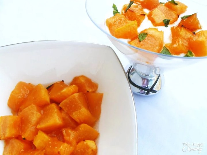 Lightly sweetened cantaloupe roasted to perfection. Made with only three ingredients, Maple Roasted Cantaloupe is a tasty way to enjoy a tasty fruit. Enjoy it for breakfast, lunch, snack time or anytime. Healthy Clean Eating Desserts | Quick and Easy Greek Yogurt Dessert Recipes | Easy to Make Sweet Treats | #recipe #dessert #appetizer #snack #healthyrecipe | thishappymommy.com