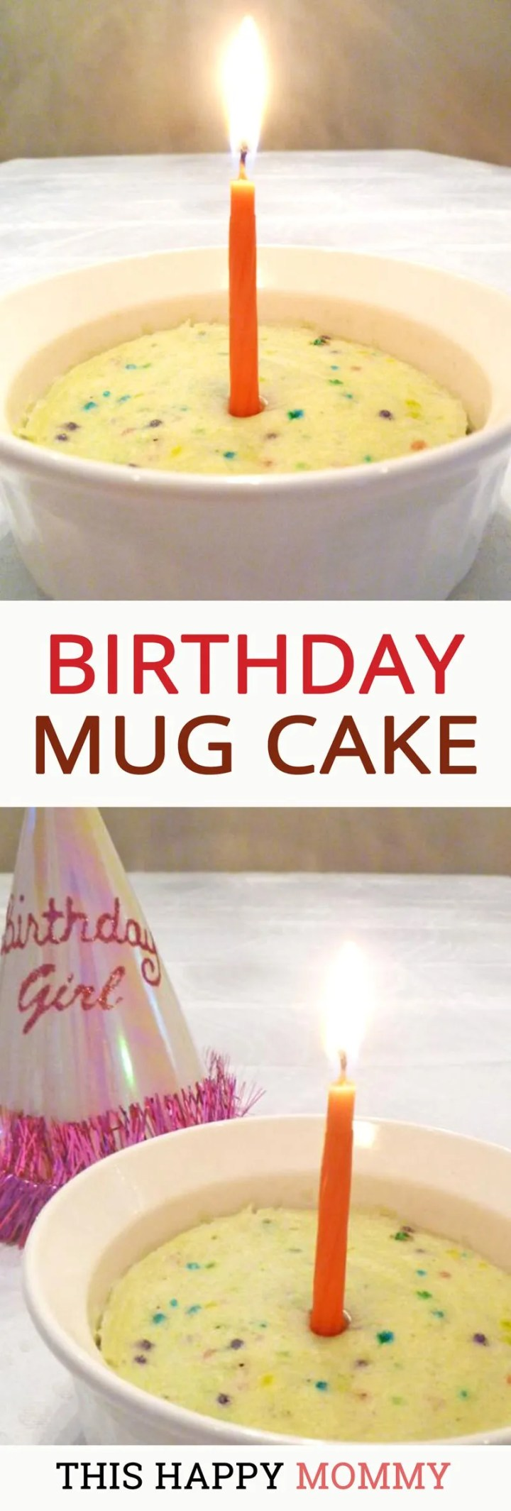 Quick and easy mini birthday cake. Enjoy all the flavors of birthday cake with this 5-minute treat. Birthday Mug Cake is a rich, velvety vanilla cake filled with yummy colorful sprinkles. Made without egg, butter, oil, or cream. | thishappymommy.com
