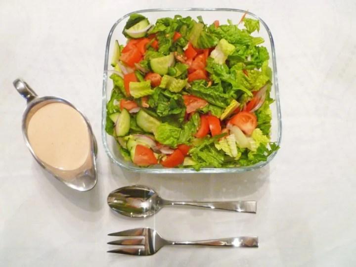 Greek Yogurt French Salad Dressing -- Rich and creamy French dressing perfect for garden salads or as a veggie dip | thishappymommy.com