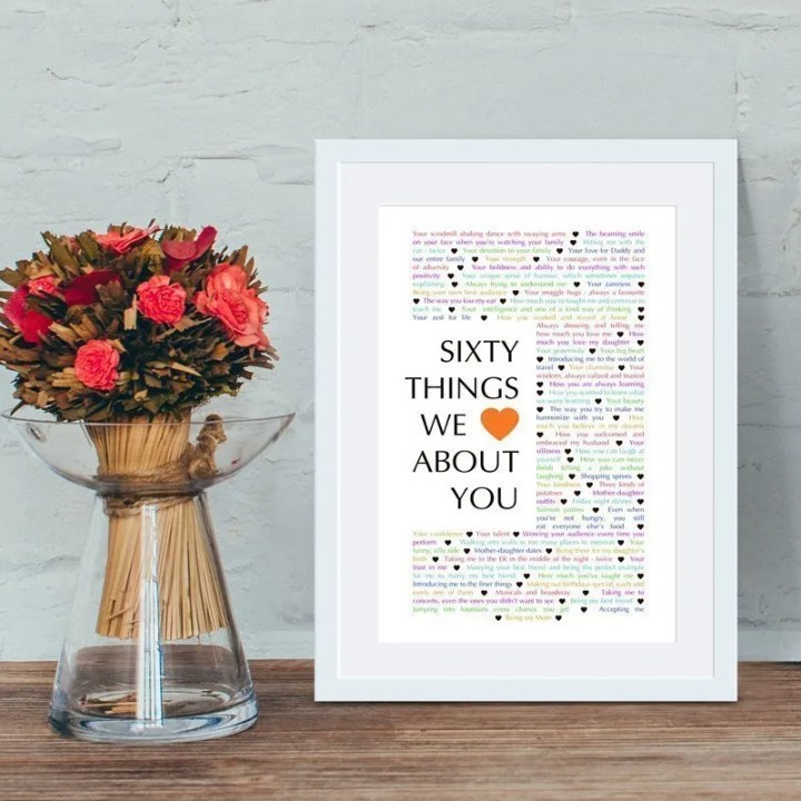 60 Things We {Love} About You | 60th birthday present | 60th birthday gift | milestone birthday gift