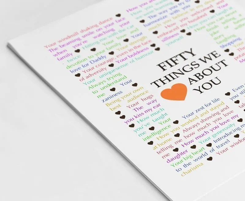 50 Things We About You The Best DIY 50th Birthday Gift