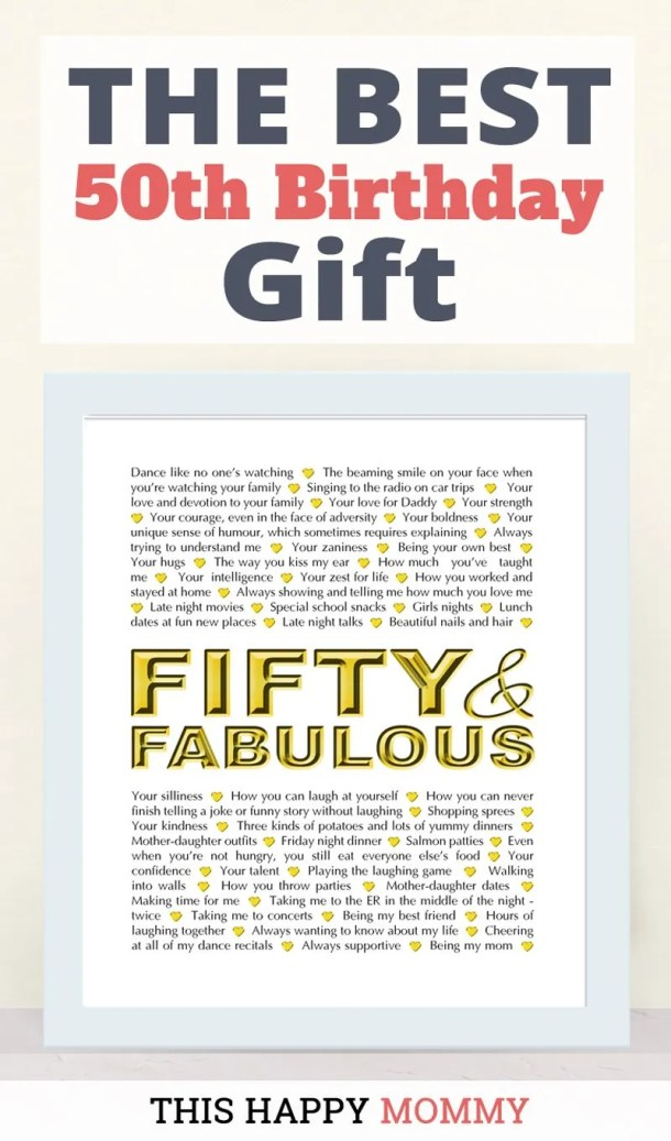 Fifty and Fabulous -- The best homemade 50th birthday gift. | 50th birthday gift for dad | 50th birthday gift mom | birthday party gift for adults | the best 50th birthday gift #50birthday #birthdaygift | thishappymommy.com