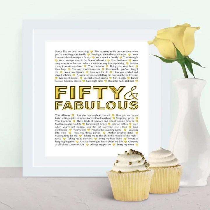 Fifty and Fabulous | milestone birthday gift | birthday present | birthday gift
