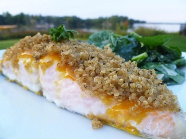 Quinoa Crusted Salmon -- Sweetened mustard glazed salmon with a crunchy, quinoa crust. | thishappymommy.com